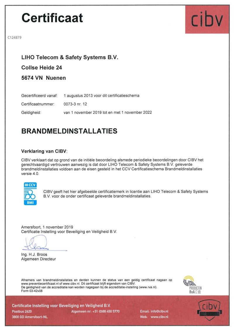 Certificaat LIHO BORG brandmeld