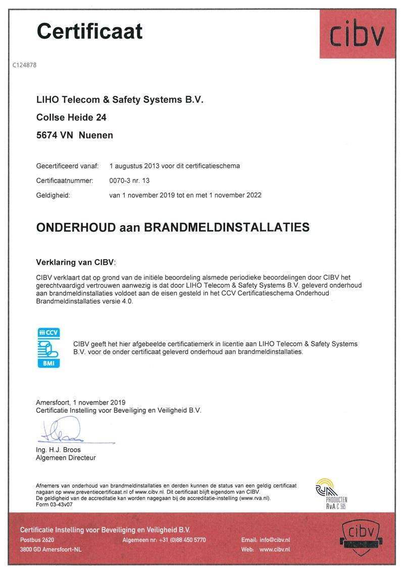 Certificaat LIHO BORG onderhoud