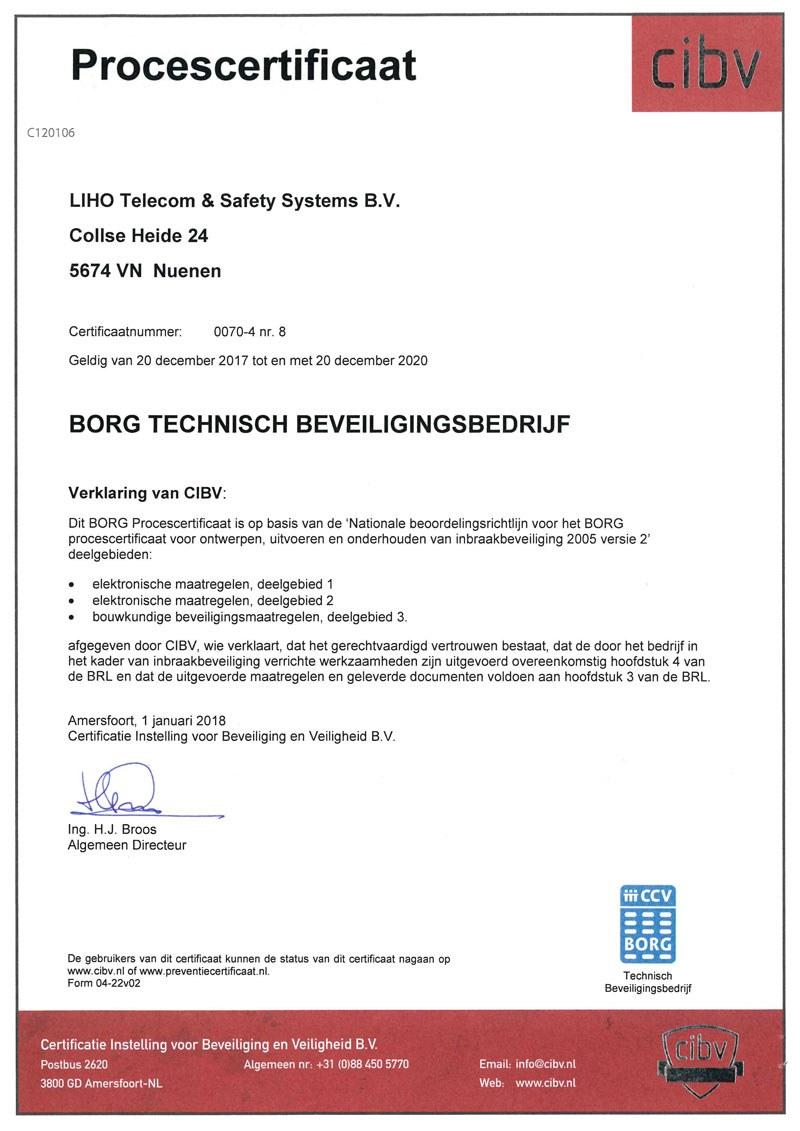 Certificaat LIHO BORG